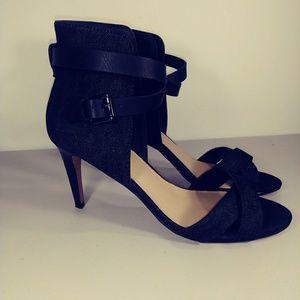 Joe's Marcy Dark Denim Ankle Strap Heels